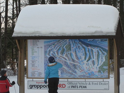 Skier looking at trail map
